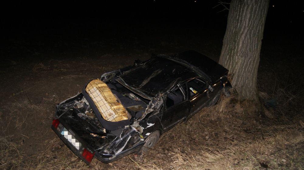 Konar spadł na samochód. Dwie osoby ranne!