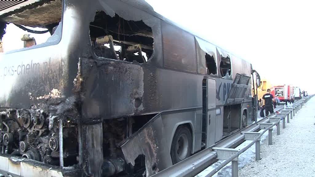 Na A1 spłonął autokar!